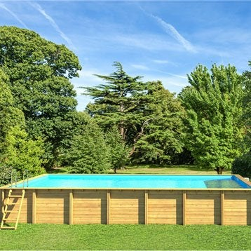 Piscine hors-sol bois Weva Proswell by Procopi, L.8.54 x l.4.54 x H.1.46 m