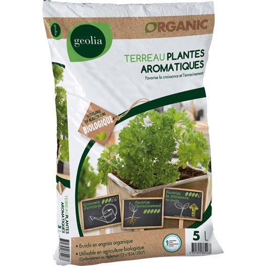 Terreau plantes aromatiques GEOLIA, 5 l