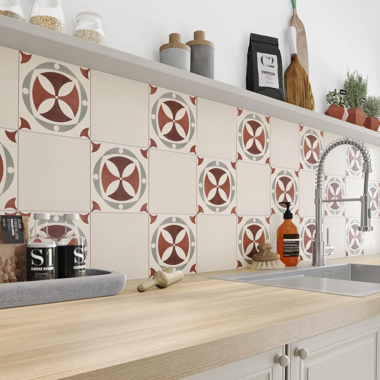 carreau de ciment mur rouge belle epoque leonie x. Black Bedroom Furniture Sets. Home Design Ideas