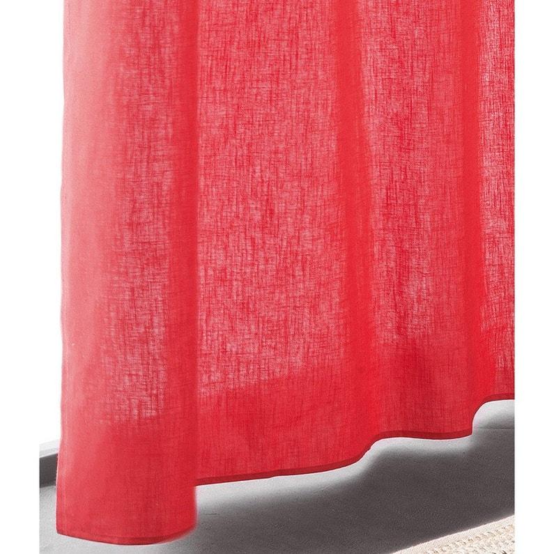 Rideau Tamisant Toile Polycoton Chintz Rouge Orange L 145 X H 240