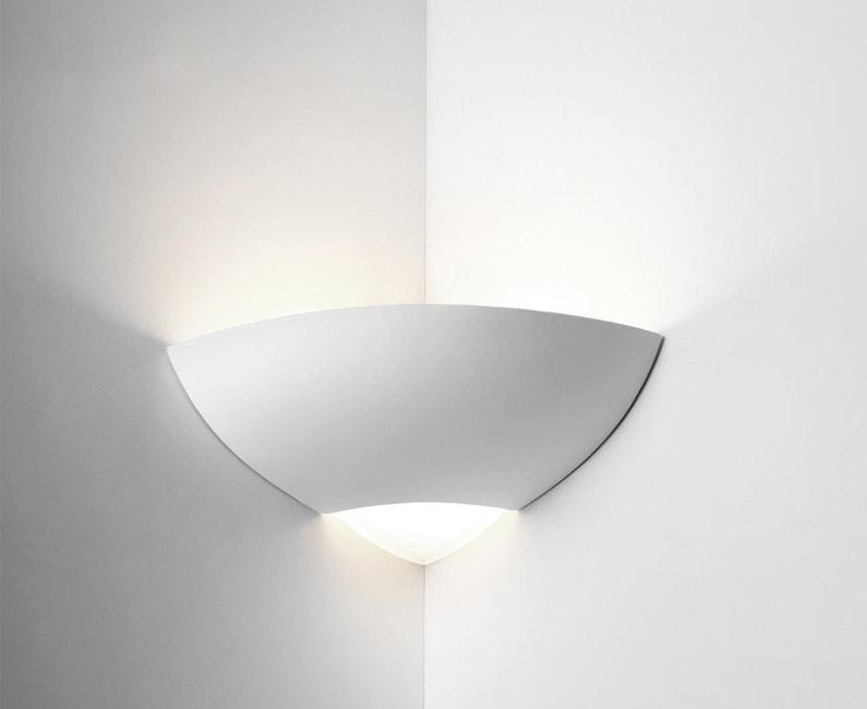 Applique angle zoe classique e27 céramique blanc leroy merlin