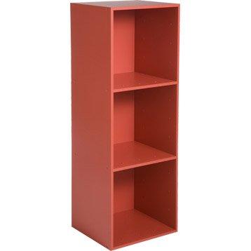Etagère 3 cases MULTIKAZ, rouge H.103.2 x l.35.2 x P.31.7 cm