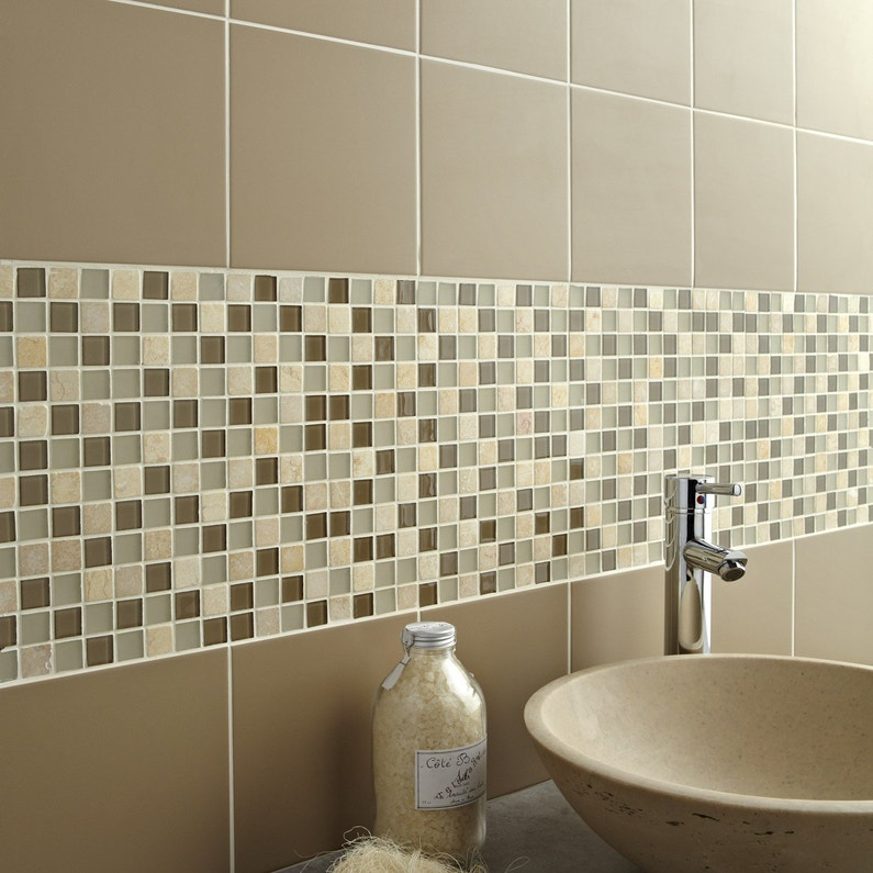 Mosaique Mur Simply Beige 2 3 X 2 3 Cm Leroy Merlin