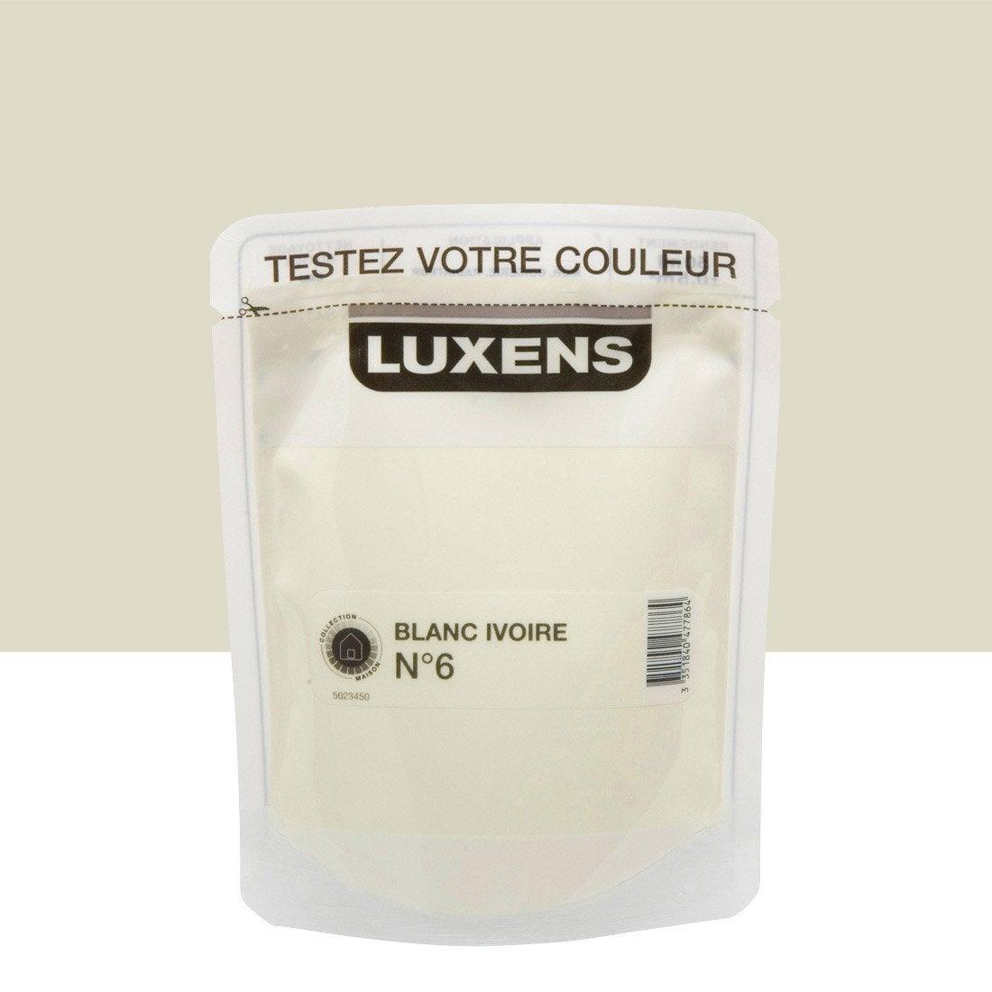 Testeur peinture blanc ivoire 6 satin luxens couleurs int rieures satin l leroy merlin - Blanc comme l ivoire ...
