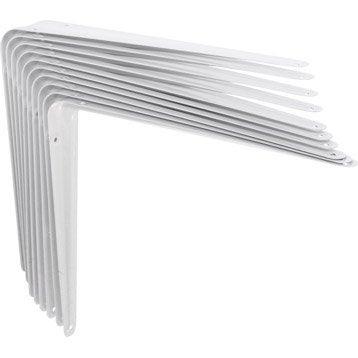 Lot de 10 équerres Emboutie acier epoxy blanc, H.25 x P.30 cm