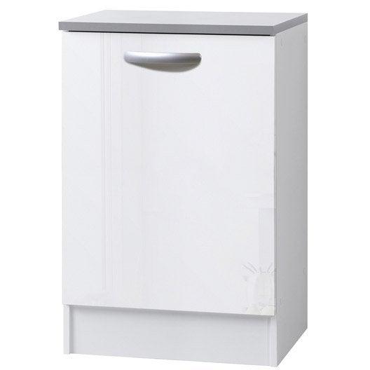 Meuble de cuisine bas 1 porte blanc brillant h86x l60x - Meuble de cuisine blanc brillant ...