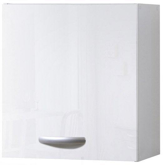 Meuble de cuisine haut 1 porte blanc brillant for Porte cuisine blanc brillant