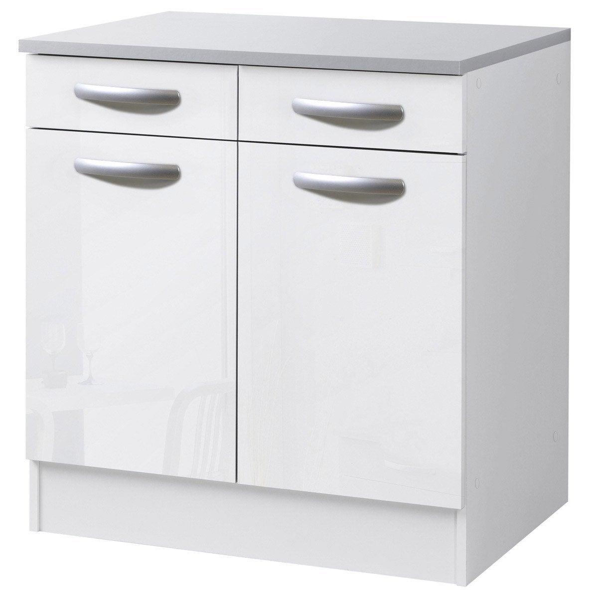 charmant Meuble de cuisine bas 2 portes + 2 tiroirs, blanc brillant, h86x l80x p60cm