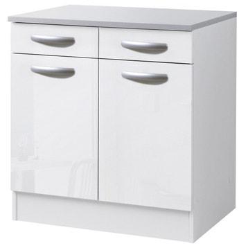 Meuble de cuisine bas 2 portes 2 tiroirs blanc brillan
