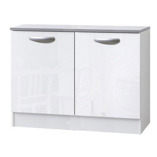 meuble de cuisine bas 2 portes, blanc brillant, h86x l120x p60cm