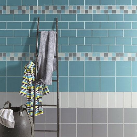 Fa ence mur bleu atoll astuce x cm leroy merlin for Carrelage wow