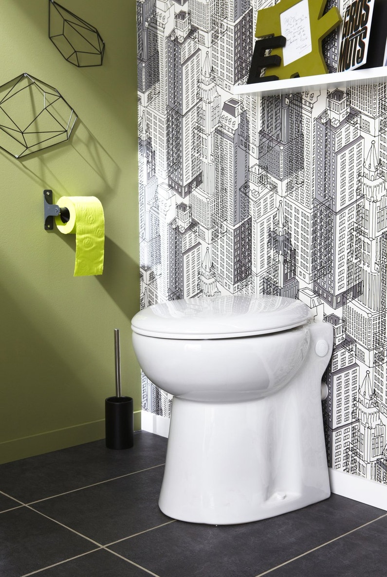 une pi ce wc kaki gris et blanc leroy merlin. Black Bedroom Furniture Sets. Home Design Ideas