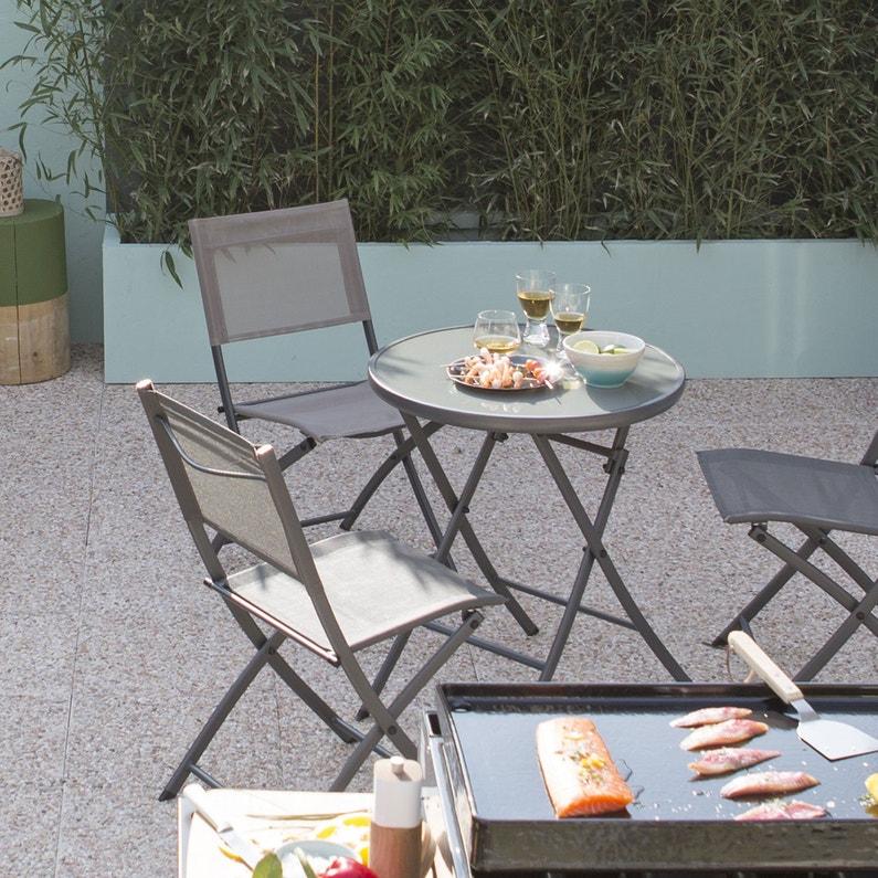 Table de jardin NATERIAL Denver ronde gris 2 personnes   Leroy Merlin