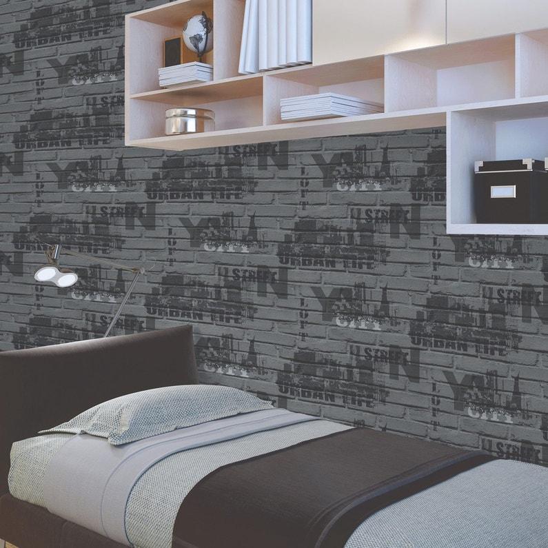 Papier peint papier Brique loft typo gris foncé | Leroy Merlin
