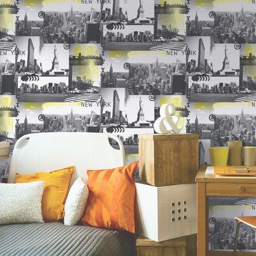 papier peint papier new york jaune et noir leroy merlin. Black Bedroom Furniture Sets. Home Design Ideas
