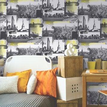 Papier peint papier New york jaune