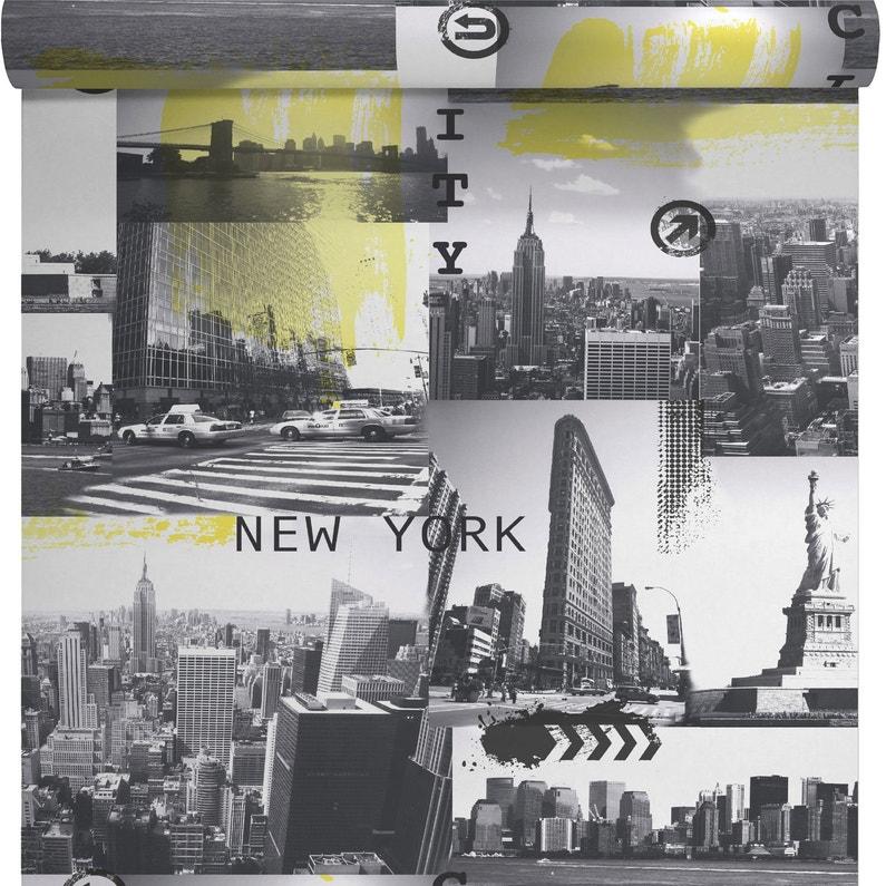 Papier Peint Papier New York City Jaune Noir Leroy Merlin