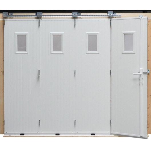 Porte de garage coulissante manuelle artens x cm avec hublot leroy merlin - Porte de garage pvc coulissante ...