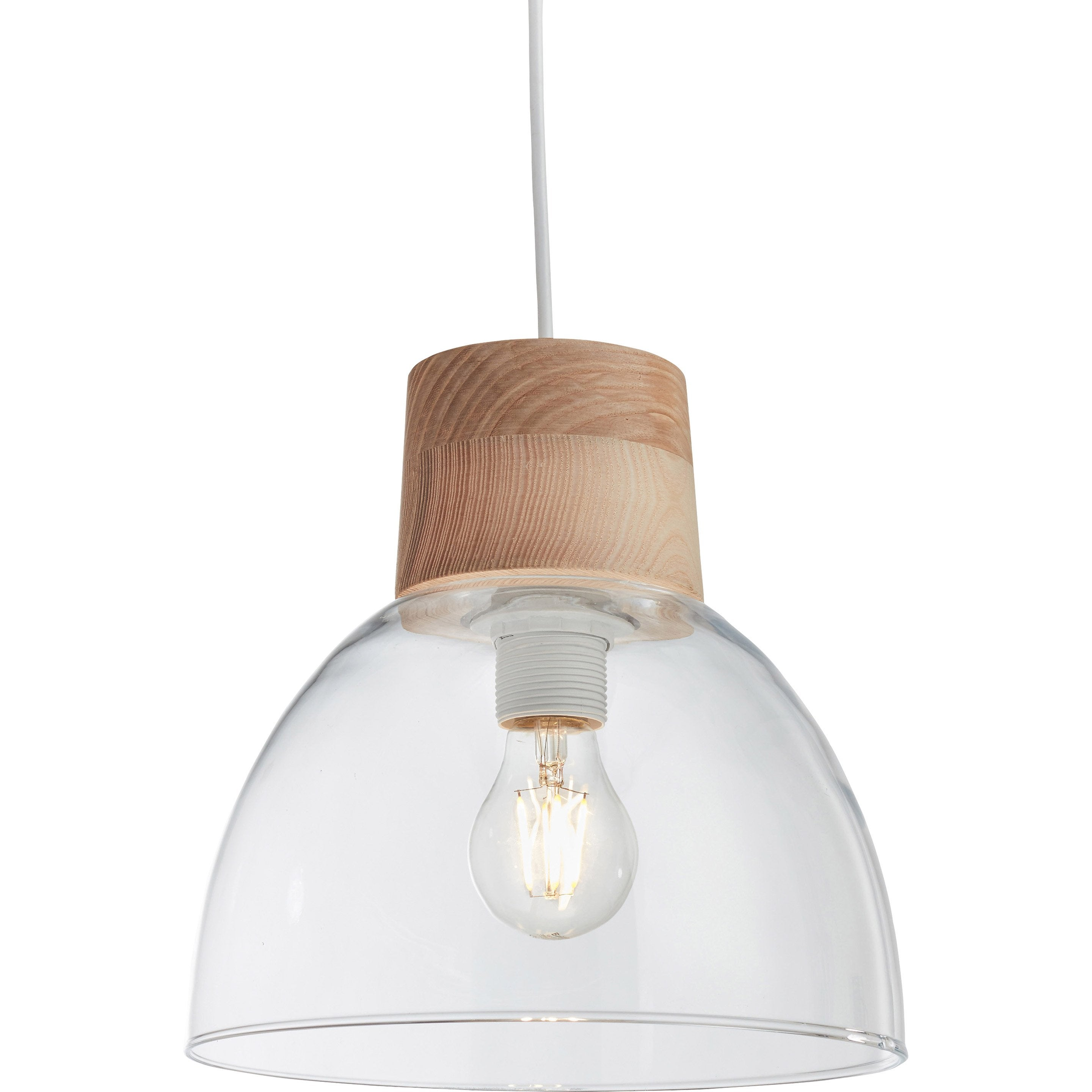 Suspension, e27 scandinave Studio Bois verre translucide 1 LUSSIOL
