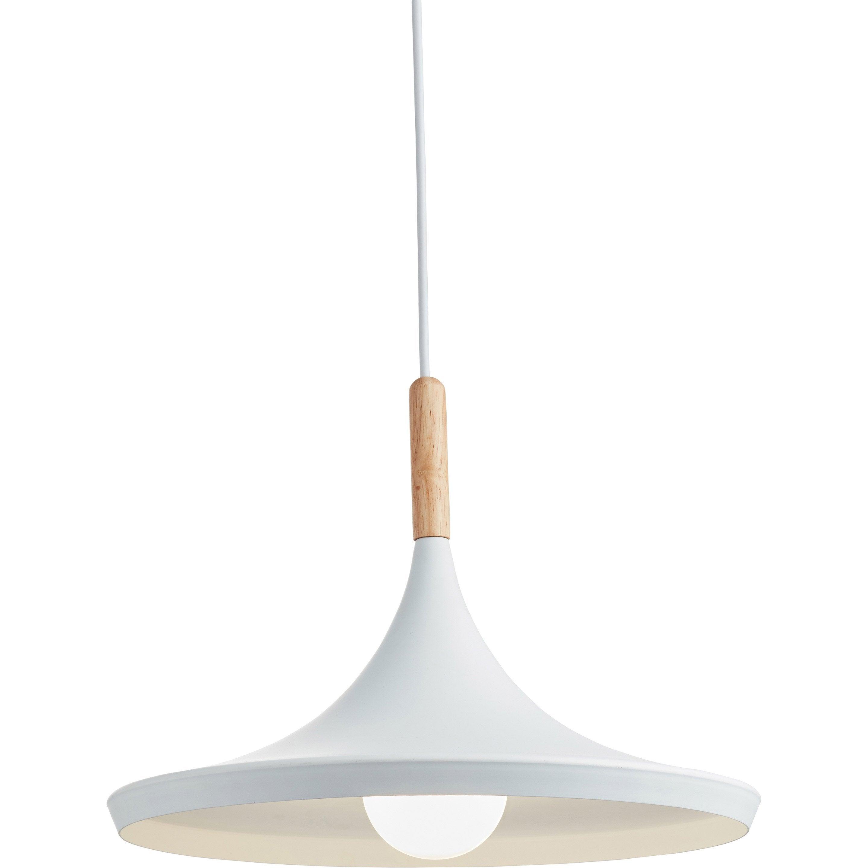 Suspension, scandinave métal blanc LUSSIOL Birgit 1 lumière(s) D.36 cm