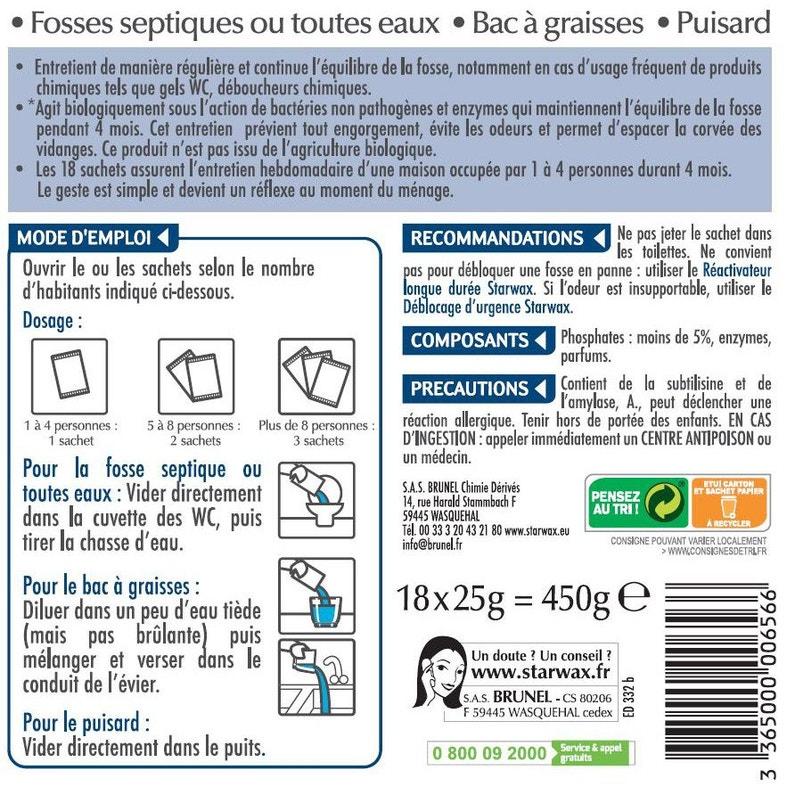 Entretien Hebdomadaire Pour Fosses 4 Mois Starwax 045 Kg