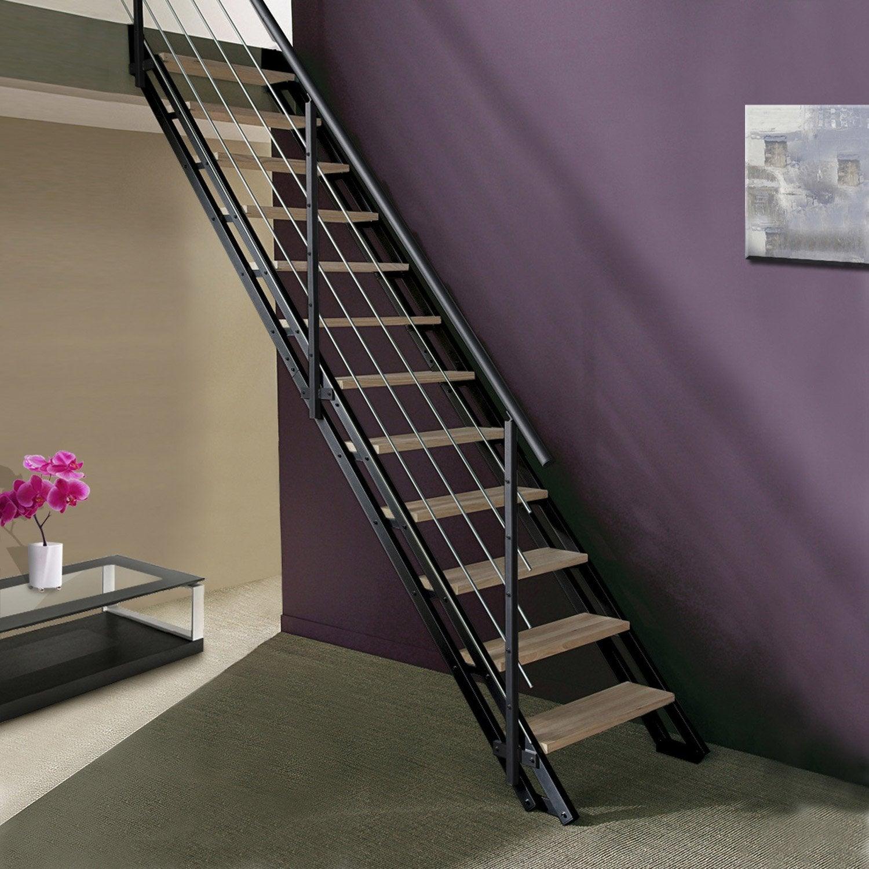 escalier modulaire escavario structure m tal marche bois. Black Bedroom Furniture Sets. Home Design Ideas