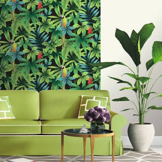 papier peint papier perroquet vert leroy merlin. Black Bedroom Furniture Sets. Home Design Ideas