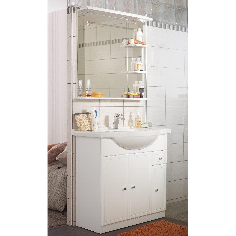 Meuble de salle de bains de 80 99 blanc galice leroy - Devis salle de bain leroy merlin ...