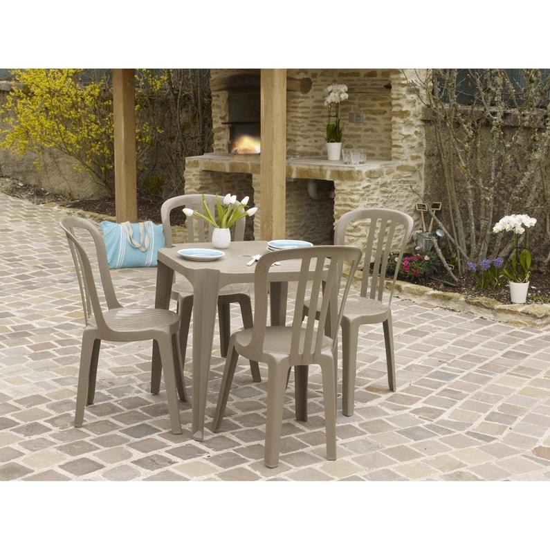 Table de jardin basse GROSFILLEX Sun carrée taupe 4 personnes ...