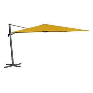 Parasol déporté Hera jaune carré, L.300 x l.300 cm