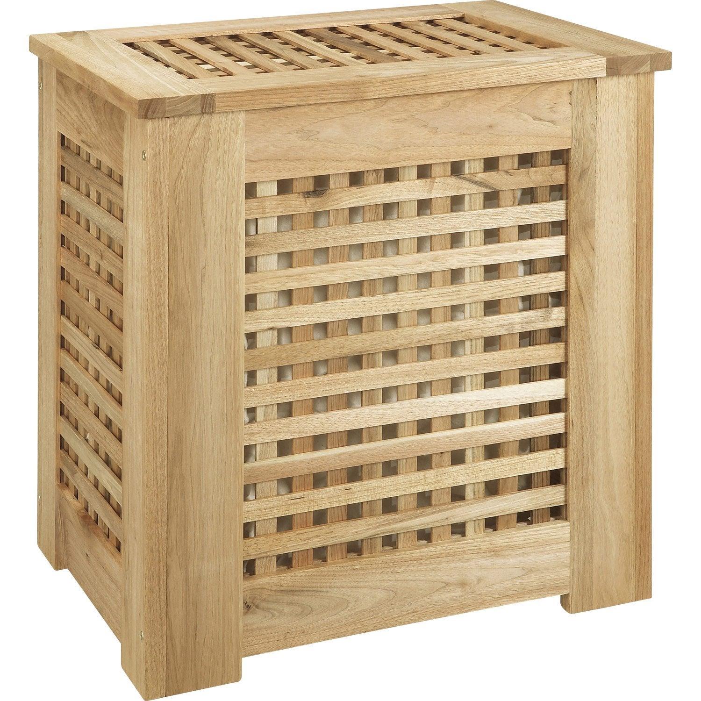 Panier à linge bois Ankora, naturel, l.52 x H.55 x P.36.5 cm