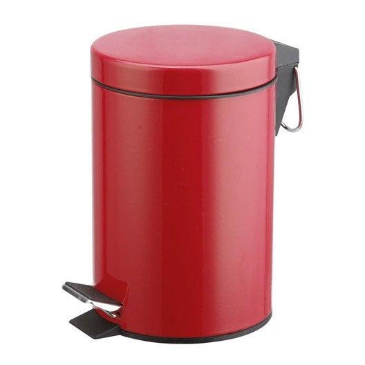 Poubelle de salle de bains 3 l rouge rouge 3 SENSEA Happy | Leroy ...