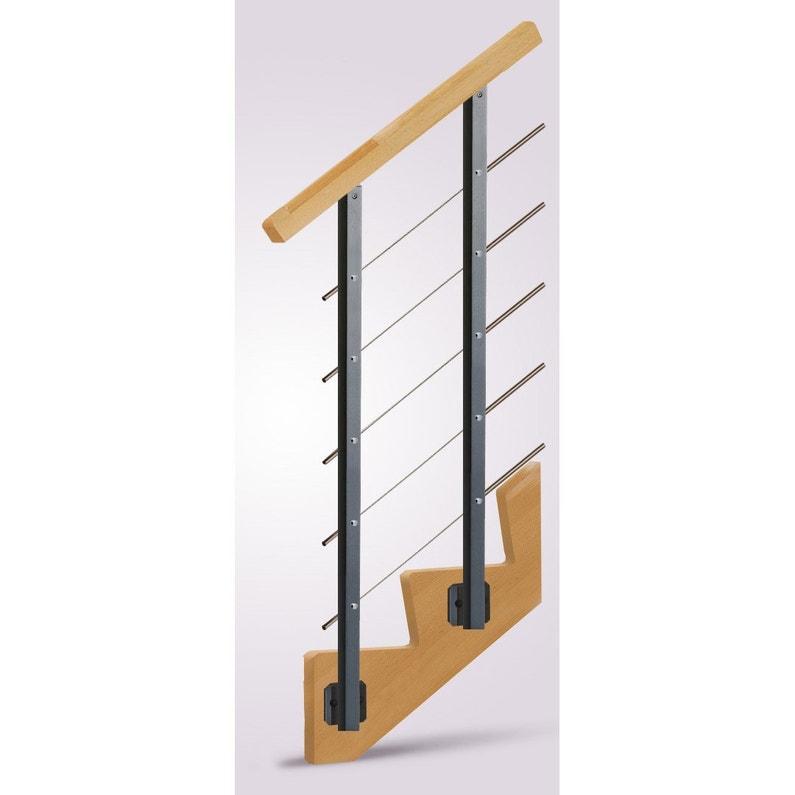 Escalier Droit Biaiz Cable Structure Bois Marche Bois Leroy Merlin