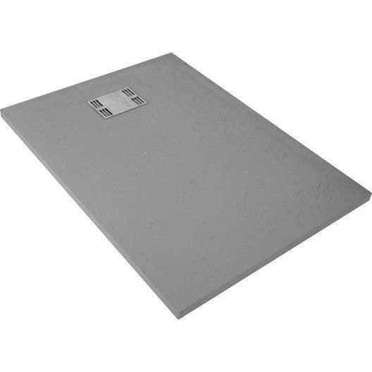 receveur de douche rectangulaire l.120 x l.90 cm, résine gris