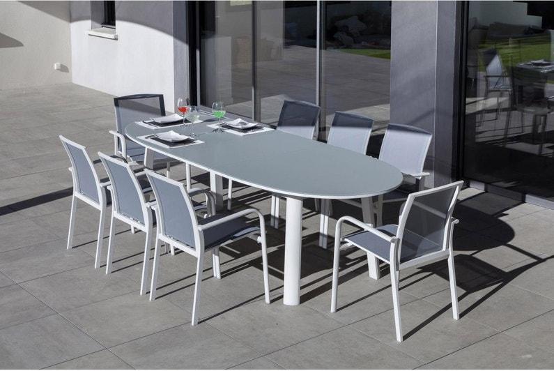 Table de jardin Capucine ovale blanc cassé 10 personnes | Leroy Merlin