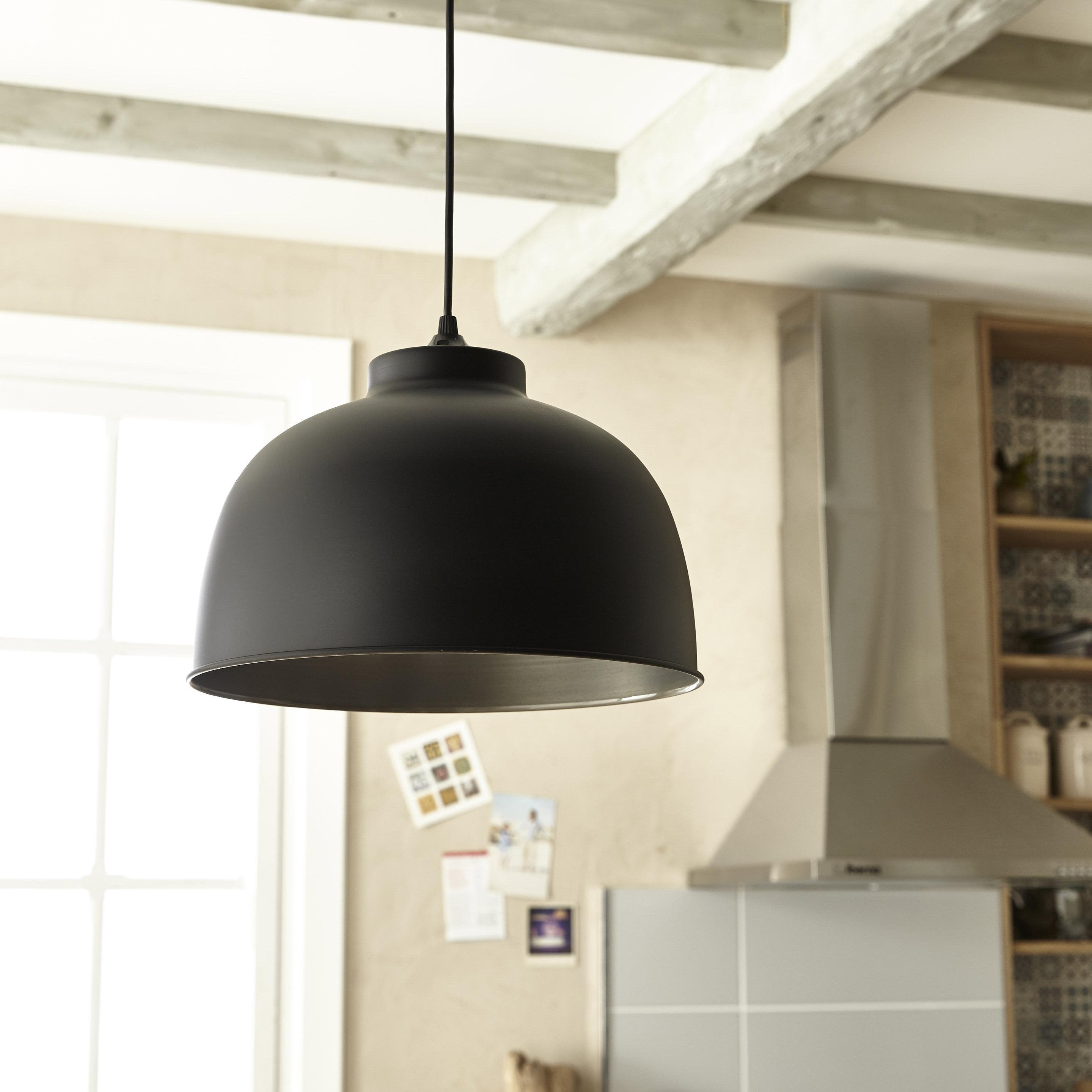 Suspension, industriel métal noir mat COREP Little dock 1 lumière(s) D.31 cm