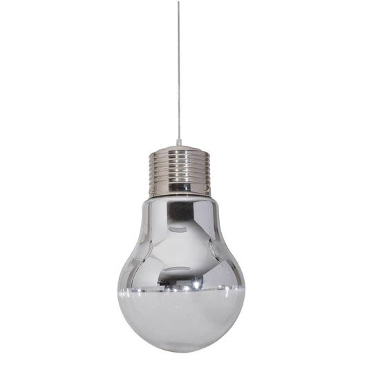 Suspension design ampoule verre blanc 1 x 60 w corep for Grosse suspension luminaire