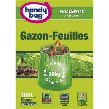 Lot de 8 sacs à végétaux à gazon-feuilles de jardin HANDY BAG 100 l