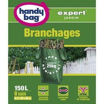 Lot de 8 sacs à végétaux à branchages de jardin HANDY BAG 150 l
