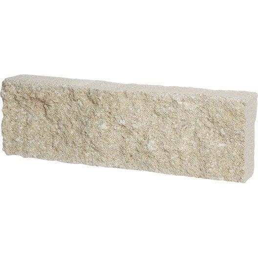 bordure droite pierre de provence pierre reconstituée blanc, h.15