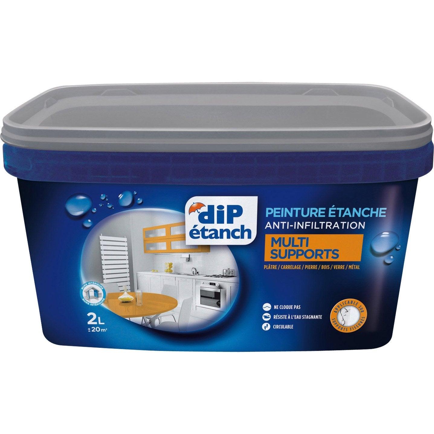 Peinture tanche multi supports dip blanc 2 l leroy merlin - Peinture salle de bain etanche ...