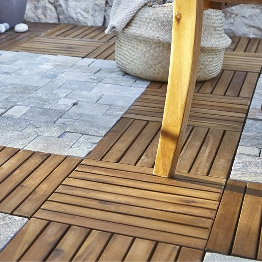 Lot de 4 dalles clipsables bois snap go marron naturel l for Terrasse en dalle bois