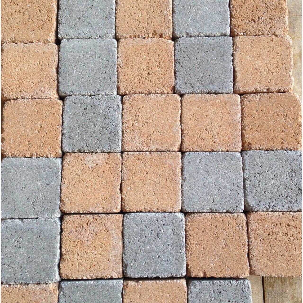 Pav b ton karra gris et rouge panach cm x cm x mm leroy merlin - Pose de pave sur beton maigre ...