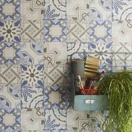 Papier peint intissé Patch de mosaique bleu