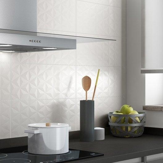 Fa ence mur blanc n 0 d cor loft facette x cm for Faience cuisine blanche