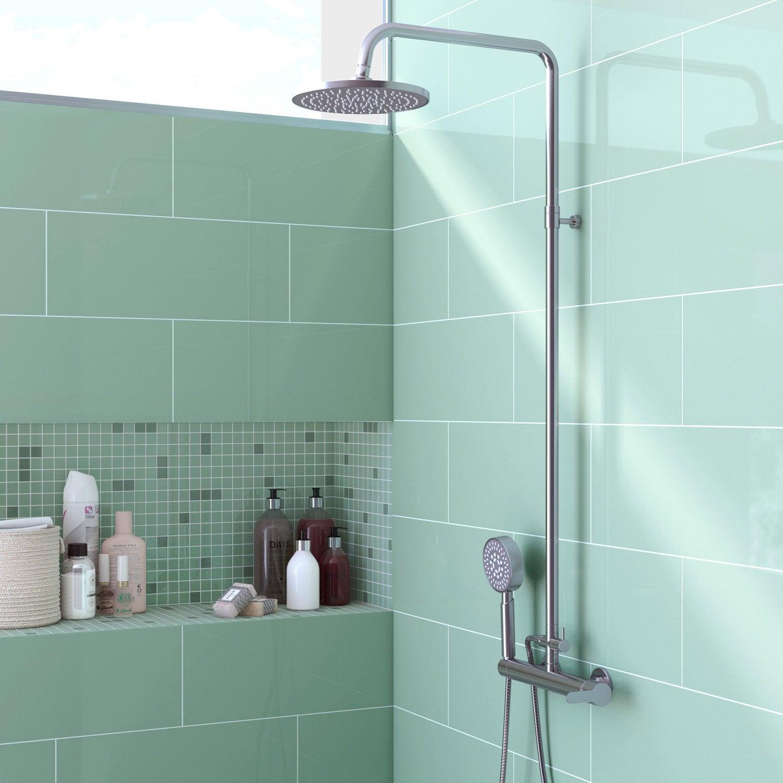 Faïence mur uni vert d'eau brillant l.20 x L.50.2 cm, Loft