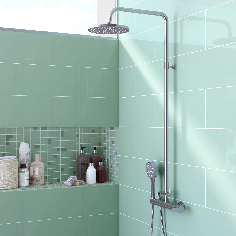 Faïence mur vert d'eau brillant l.20 x L.50.2 cm, Loft