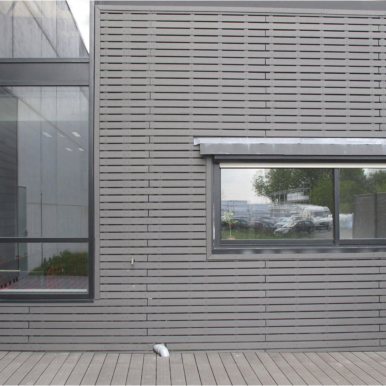 clin pour bardage bois composite gris ebony xyltech 2 7 m ForBardage Bois Composite Leroy Merlin