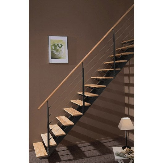 escalier droit escatwin structure aluminium marche bois leroy merlin. Black Bedroom Furniture Sets. Home Design Ideas