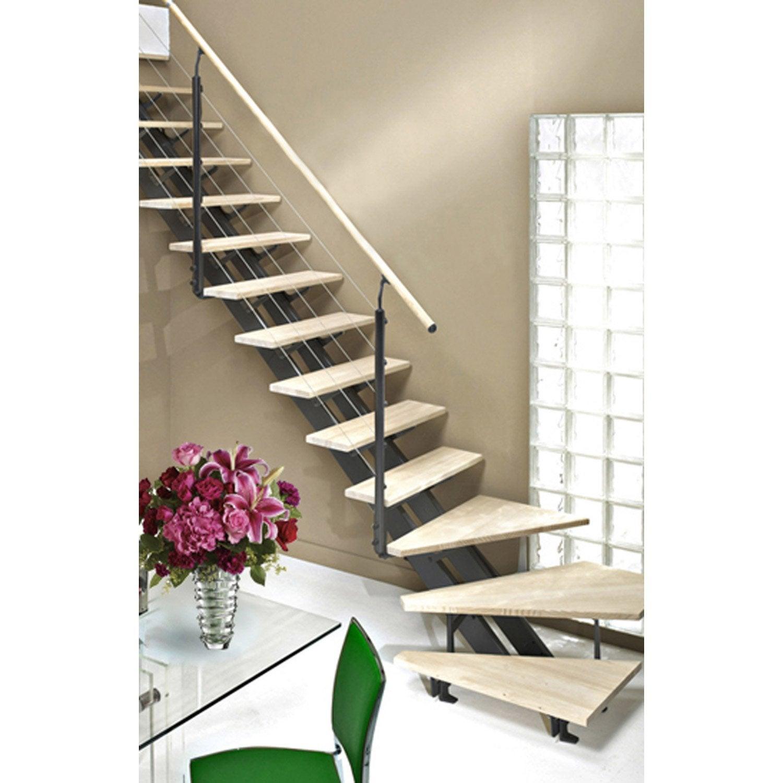 escalier quart tournant escatwin structure aluminium marche bois leroy merlin. Black Bedroom Furniture Sets. Home Design Ideas